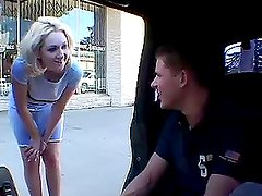 Blonde Jessica gets her jack pot - two big cocks she needs to suck