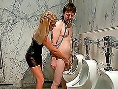 Blonde dominating woman is slaving two big men