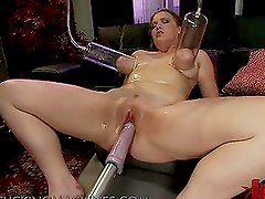 Fucking Machines and Tongue Device Giving Pleasure to a Horny Broad