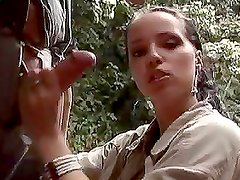 FFM Threesome on a Creek in the Middle of the Jungle with Slutty Babes