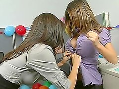 Sexy Office Party For Hot Babes in Lingerie