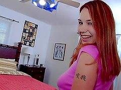 Cute Red Haired Girl Sucks On A Big Cock And Gets Fucked By It.