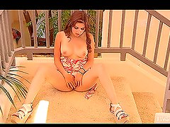 Cute girl Laleh masturbates on the staircase and enjoys it