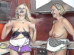 Sexy blonde and her mom get fucked in the kitchen