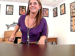 Lovely Office Brunette Gets On Her Knees For Some Sexy Time