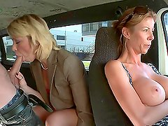 Horny Blonde MILF Fucks in the Back of a Van with Her Clothes On