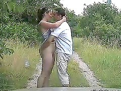 Horny Brunette Chick Gets Fucked on the Countryside