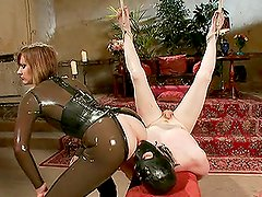Dominatrix in Latex Outfit Gives Ball and Cock Torture for Dude Before Sex