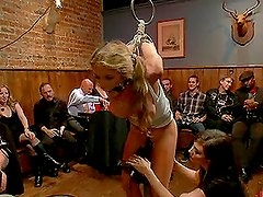 Blonde Gets Abused By Cocks and a Strapon Clad Girl in BDSM Group Sex