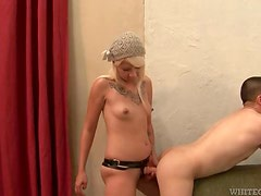 She takes him with a strapon before they fuck