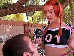 Naughty Cheerleader Fucks a Horny Guy on Her Yard