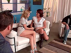 Brunette Sara Faye and Blonde Lexi Belle Become Swingers in Foursome