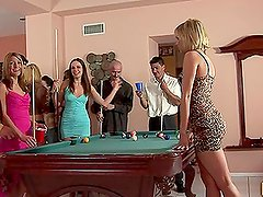 Naughty Babes Go Crazy Over the Pool Table During a Party