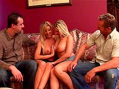 Big Breasted Blonde Lexi Lamour and Devon Lee Play with Their Mates