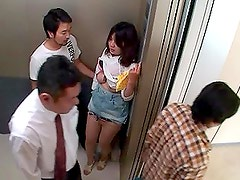 Horny and Busty Asian Babe Fucked in an Elevator