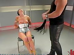 Hot Brunette Chokes On A Really Fat Cock