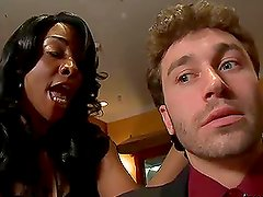 Busty Ebony Sincere Lemore Loving The Big White Dick in the Kitchen
