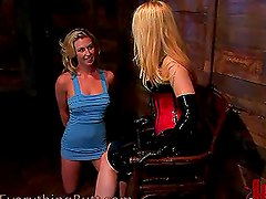 Kinky Blonde Dominatrix Fucking a Pretty Blonde with Strapon
