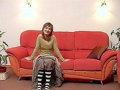 Pretty Teen with Long Socks Giving Great Blowjob