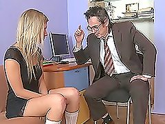 Bad boss tempts and fucks his sexy secretary in his office