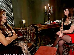 Kinky Brunette Gets in the Dungeon for a Shocking Experience