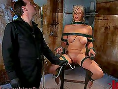 Hot Submissive Blonde Will Sit on a Special Chair