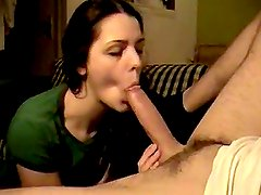 Teen Brunette Gives a Great Blowjob
