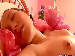 Cute Asian Teen Has Her Pink Shaved Pussy Stretched Out In Hot Sleep Fuck