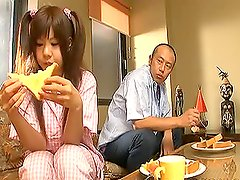 Cute Pigtailed Asian Babe Fucked After Breakfast