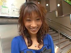 Sexy Asian MILF Gets a Vibrating Toy In Her Ass In Public