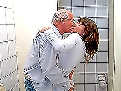 Nasty Teen Fucked By an Old Man in The Bathroom