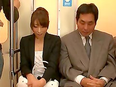 Sexy Asian Babe Rides An Old Man's Hard Cock In A Public Train