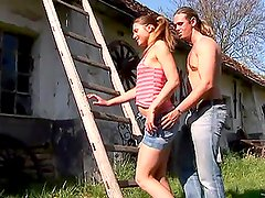 Sexy Teen Is Caught Masturbating And Gets Fucked By A Hard Cock Outdoors