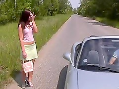 Hot Brunette Teen Fucking Outdoors In a Convertible Car