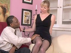 Aroused black daddy kisses gently big tits of mesmerizing blondie