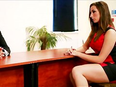 Gorgeous babe  gives her boss unforgettable blowjob