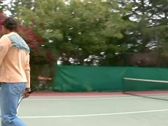 Saana  and Sativa Rose suck cock  on the tennis court