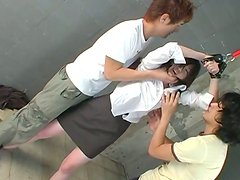 Tipsy tied up Japanese college student gets her pussy tickled