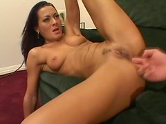 Sexy brunette Sandra Romain riding strong dick with her butt hole