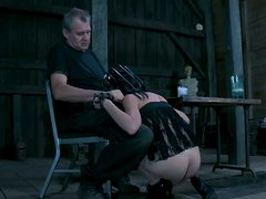 Hungry for cock slut Elise Graves sucks a cock with a bar cage on her head