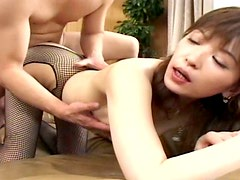 Girlie in fishnet stockings Tyara pleases two small dicks at once