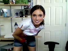Sassy girl demonstrates her slim body to webcam stranger