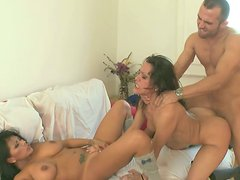 Spanish slut Samia Duarte takes part in a hardcore threesome scene