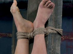 Tied up pallid bitch Syd Blakovich gets fisted in BDSM way