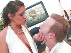 Zealous office slut Charley Chase gives blowjob to Mark Wood