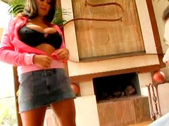 Appetizing Brandy Talore gets her big boobs squeezed hard and then bounces on a cock upskirt