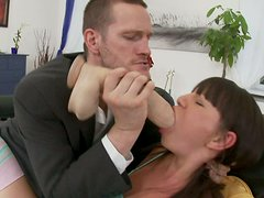 Poor Karen gets her mouth stretched with various dildos