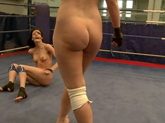 Karlie Simon and Liz Valery get naked during wrestling