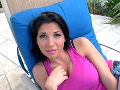 Whorable nympho Rebeca Linares sucks a cock near the pool