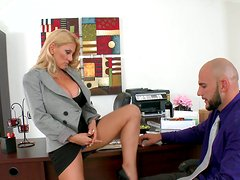 Torrid blonde business woman fucks on her work place